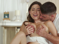 Melissa Moore and her masseur fucking on the table