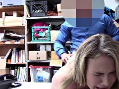 Amateur blonde thief Alyssa destroyed by a huge dick