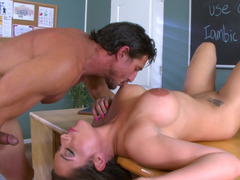 Curvy coed and her teacher have wild sex on his desk