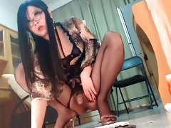 Pretty Asian Crossdresser Plays With Her Cock