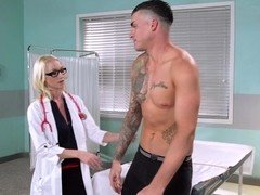 A blonde with glasses gets her pussy licked by one of the patients