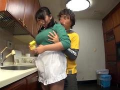 Horny guy plays with huge milk cans