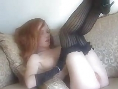 Red Hot Redhead Nylons Stockings Heels Underwear Solo