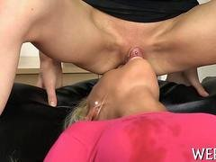 Skinny brunette with water sports fetish having lesbian fun one on one