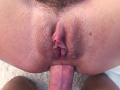 A chick is doing anal by the pool and she is also sucking and swallowing
