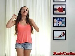 Petite teen roughfucked at brutal casting