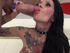 Double teamed Romanian slut is covered in tattoos