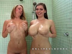 Two giant tits women soaping their tits