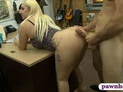 Big ass and big tits woman railed hard by pawn keeper