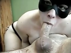 New Years Deep throat with Mask and Throat cum
