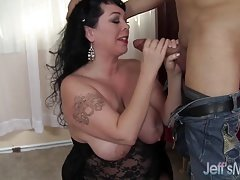 Hot and plump brunette mom takes cock