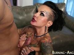 Inked goth slut gets rammed by her freaky partner
