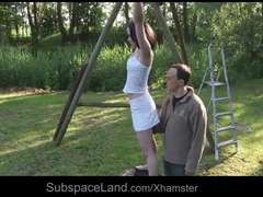 Petite slave bears limit restrain bondage slave as her throat is hard-on used
