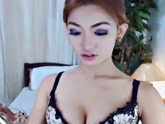 beauty shemale shows her ass and masturbating her hard dick