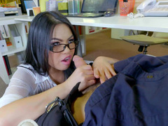A hot chick with glasses is getting her wet pussy caressed by her man