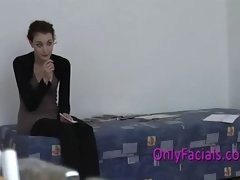 no 1 cumshot on face during casting for very shy czech t...