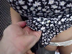 Dude bangs hot babe in some car park outdoors