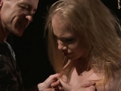 Alluring eurobabe dominated in dungeon