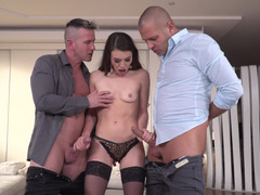Skinny Tiffany Doll blows two guys at the same time