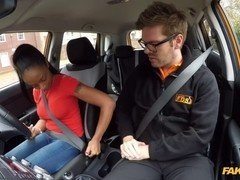 Ebony teen with big and saggy tits fucked in car
