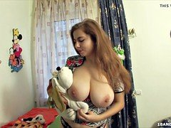 Sweet russian teen  with a huge set of natural boobs