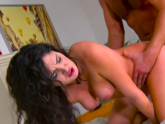 Italian brunette is banged by insatiable landlord