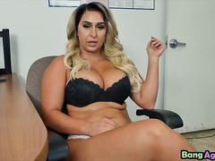 Busy blonde bombshell Nina Kayy banged hard on interview in POV style