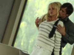 Extremely sensual sex with busty blonde in doggystyle and missionary