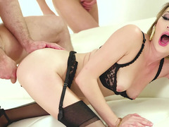 Slutty girl in stockings loves anal fucking and double penetration