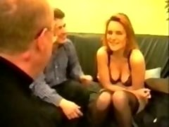 Blonde sexually available mom gang-fucked in stockings