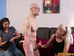 CFNM femdoms tugging and paddling sub in trio