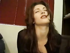Molten black-haired numerous climaxes on a sybian saddle
