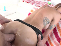 Pretty inked slut gets facefucked and analyzed hard