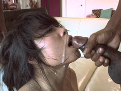 Asian harlot gets humiliated by two immense shafts