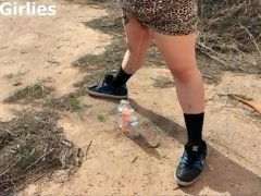 Tiana tries to fill three bottles with piss all at once IN PUBLIC! BBW Pee!
