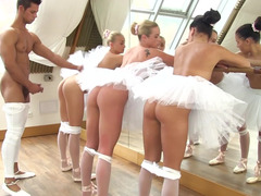 Three ballerinas bang the fit guy with a big cock