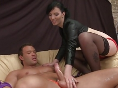 Cheap femdom goddess quick on-the-go Dominates muscular guy