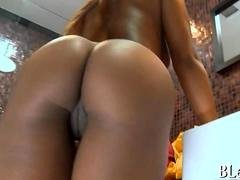 Black girl in hot bikini gets worshiped and fucked by white guy