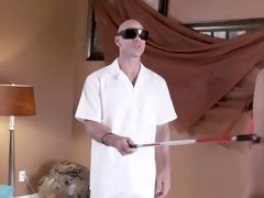 A sine slut is getting massaged by a blind masseur this day
