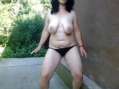 country girl shows herself naked on a spring morning