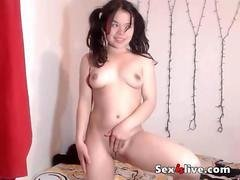 Petite brunette pigtails curvy ass at webcam