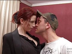 Gorgeous nice titted redhead french mom banged n facialized