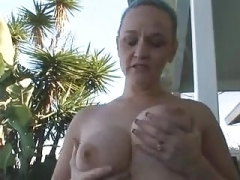 Grown-up plays with her hairless pussy