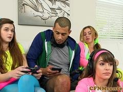 Dominating gamer girls sucking black cock