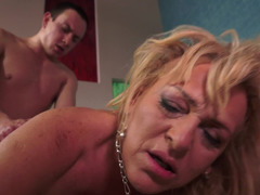 Nasty granny gets a dick in her wet and fat cunt and she loves it