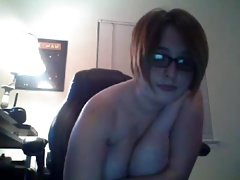 Busty curvy girl with glasses camshow 7