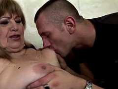 Two grandmas fucked in ass and creampied by two boys