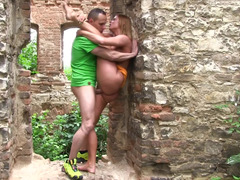 Ruins are deserted so lovers decided to fuck there