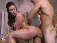 Superb dark haired slut Kendra Lust riding a terrific meat pole