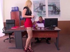 Extremely horny secretary in stockings gives a perfect footjob